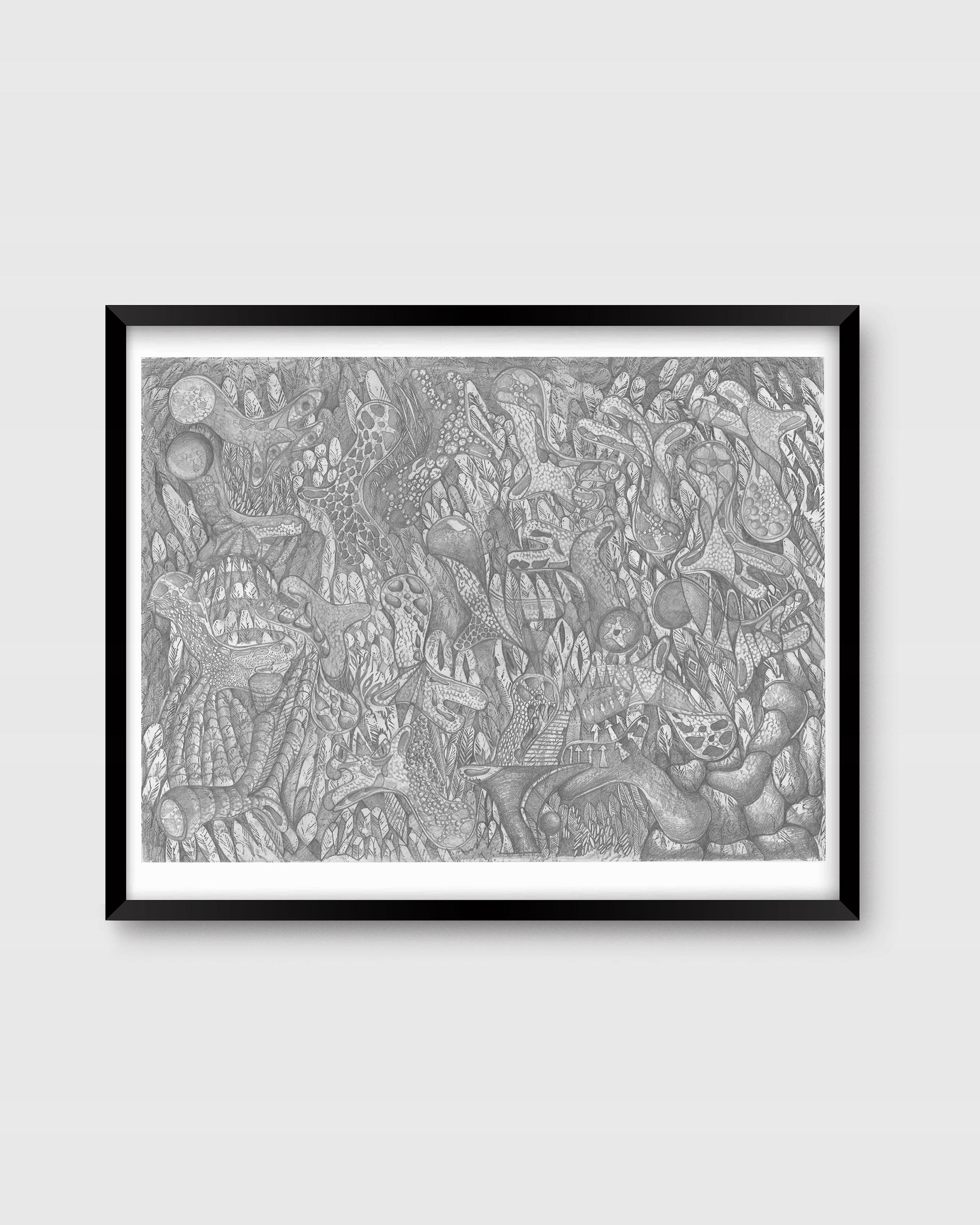 Плакат Скрытый дракон произведение искусства принт фротаж эскиз