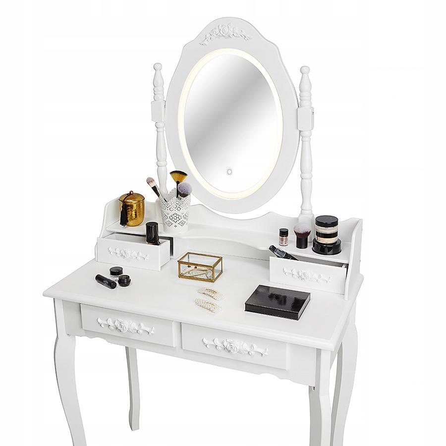 КОСМЕТИЧЕСКИЙ ТУАЛЕТ СО СВЕТОДИОДНЫМ ЗЕРКАЛОМ БЕЛЫЙ + КУРТКА Цвет мебели белый