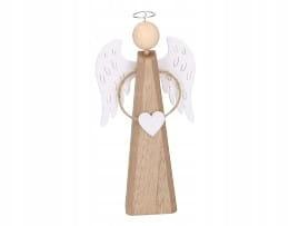 Деревянный Рождественский ангел стоит