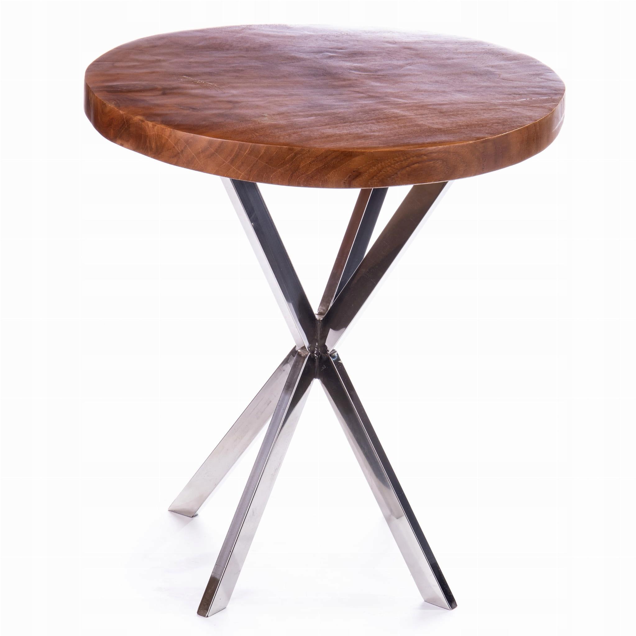 Drevená retro stolička s kovovými nohami