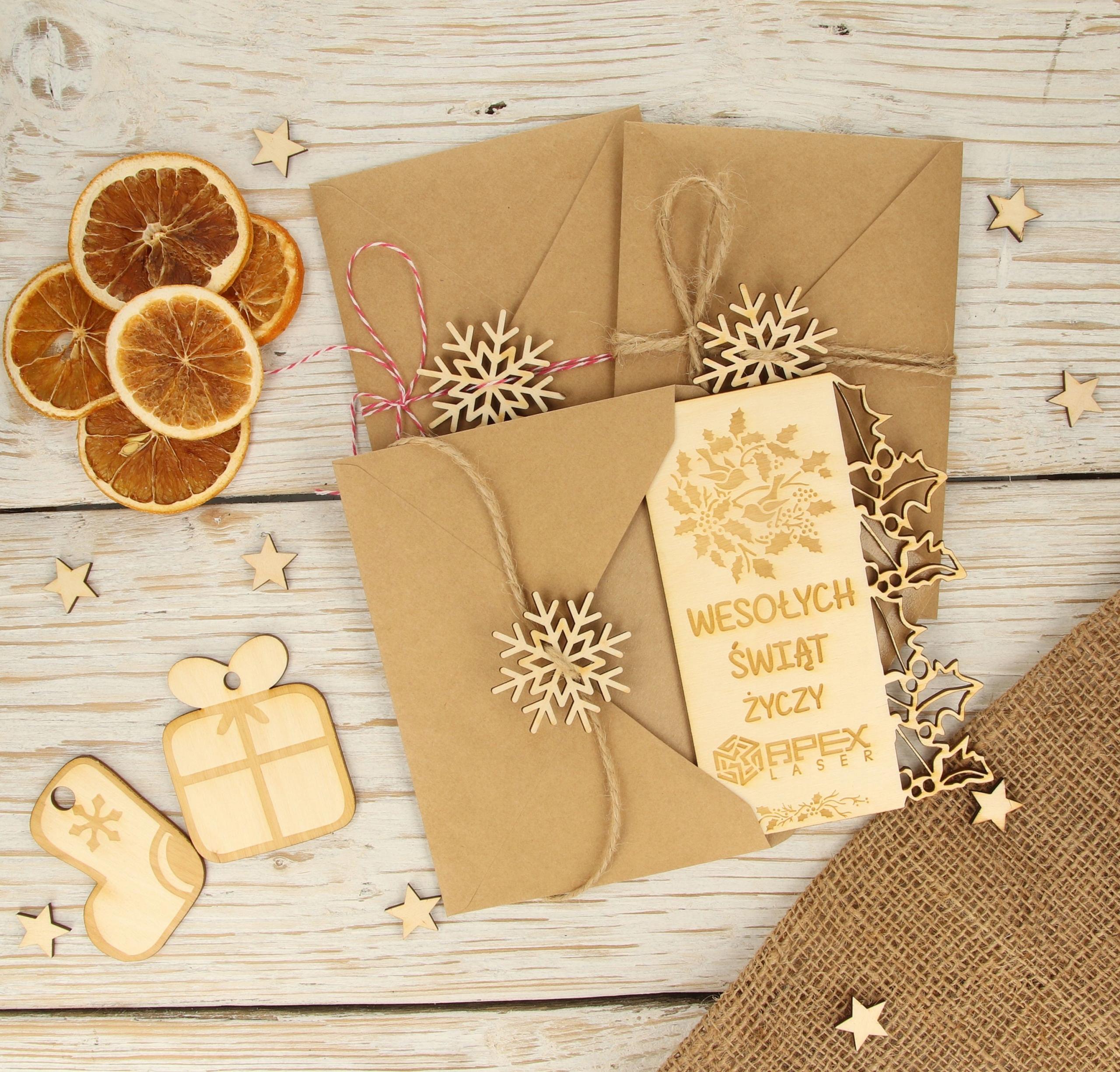 Kartka świąteczna drewniana 12 wzorów eko personal