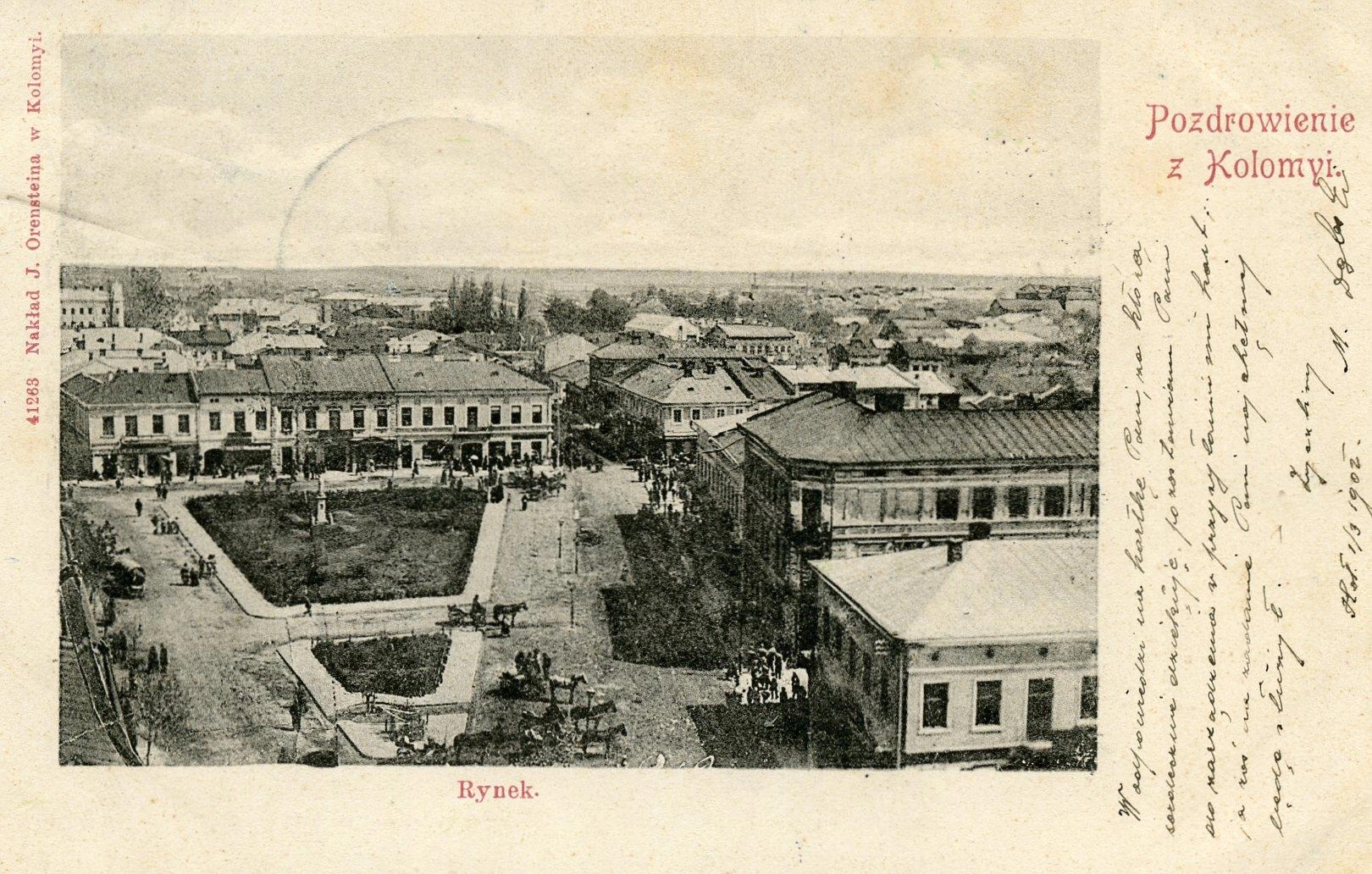 Pozdrowienia z Kołomyi. Rynek-1902 rok stan bdb