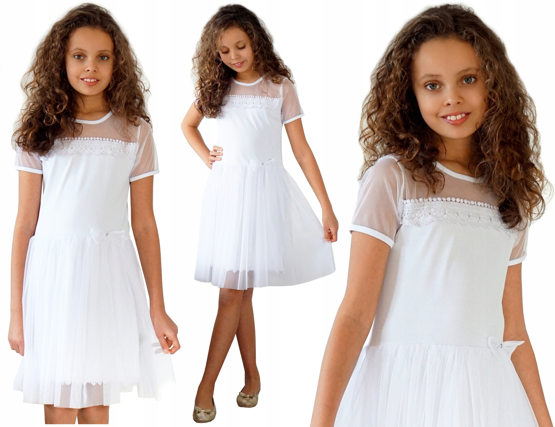 Elegancka biała SUKIENKA kokardka TIUL 134 KK574