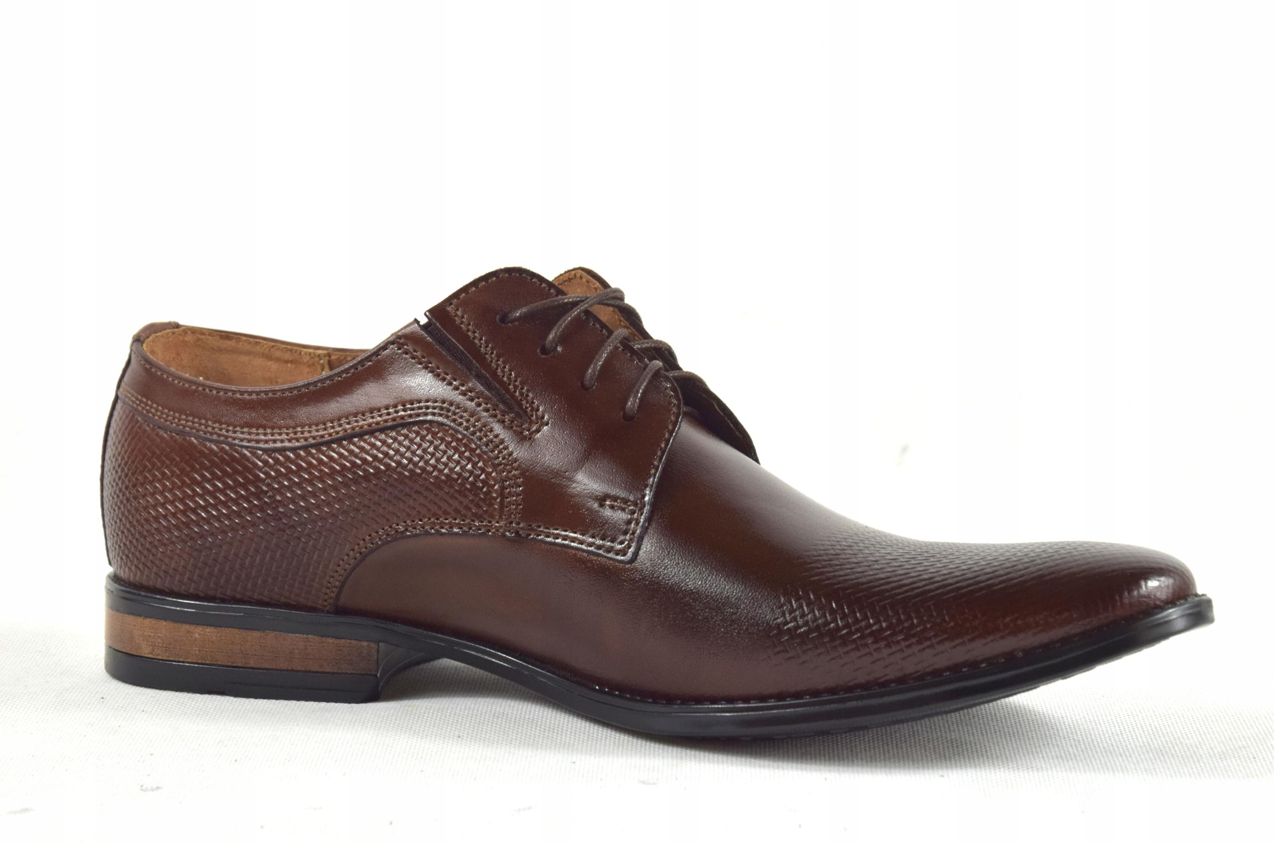 Buty męskie wizytowe skórzane brązowe obuwie 359/1 Marka inna