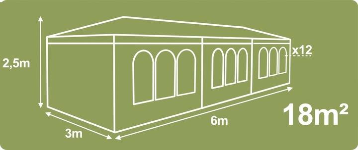 Pawilon ogrodowy 4 ścianki 3 x 6 m Plonos 4943 Liczba okien 4