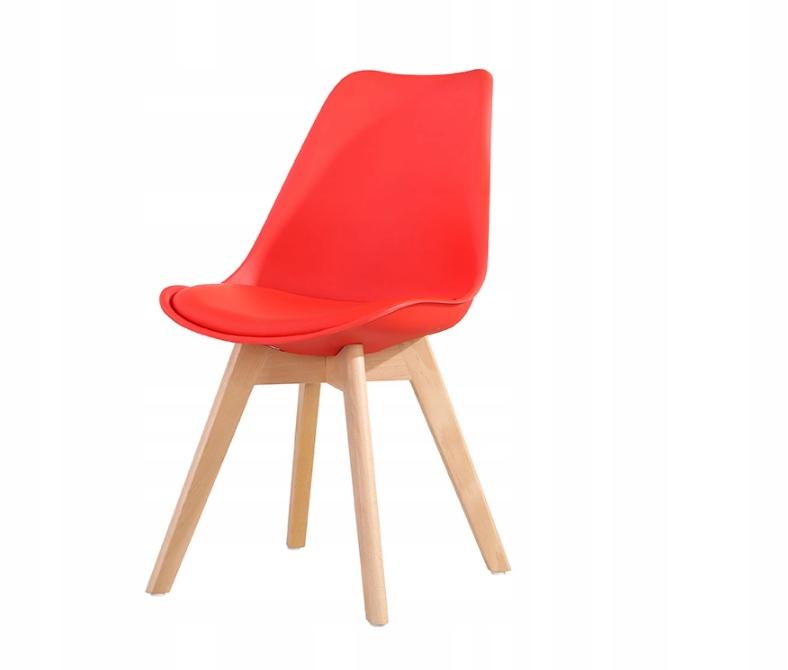 Krzesło w kolorze czerwonym PP + poduszka styl eko