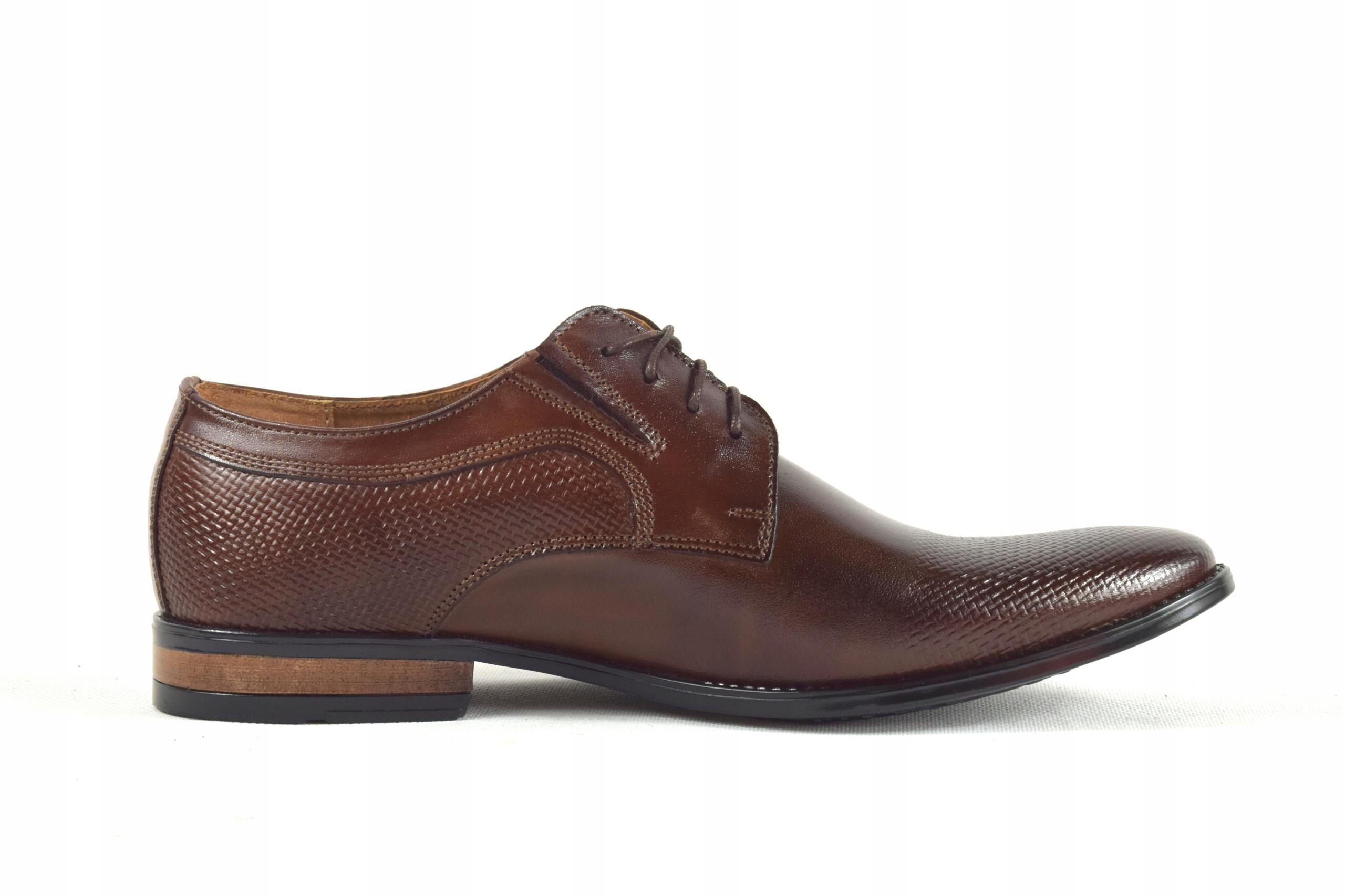 Buty męskie wizytowe skórzane brązowe obuwie 359/1 Rozmiar 43