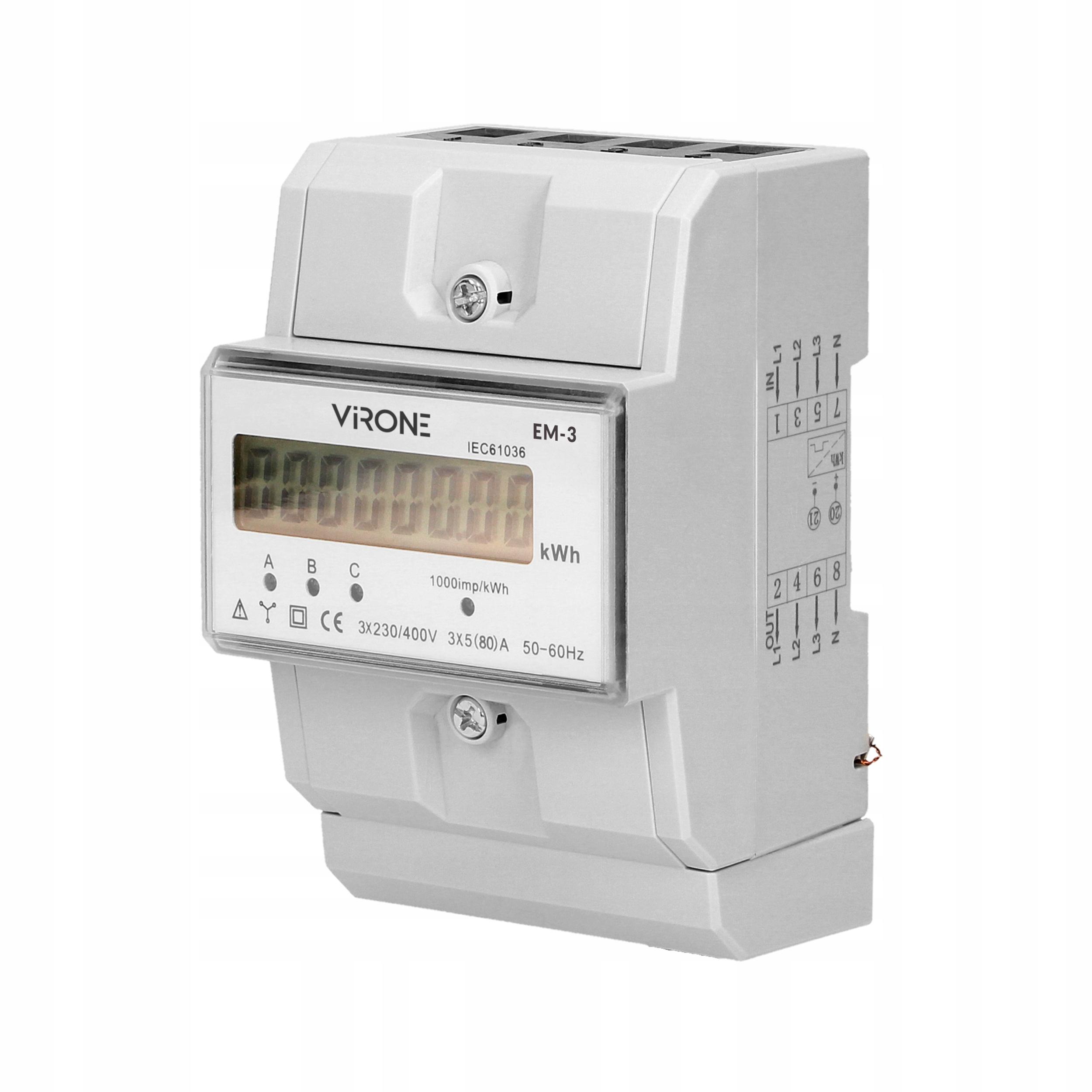 Индикатор трехфазного энергопотребления 80А TH35 EM-3