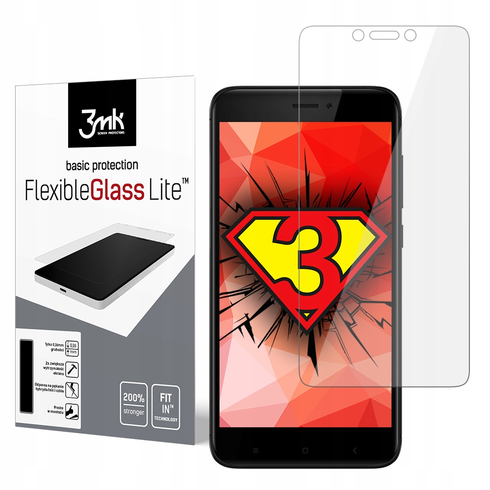 Szkło Hybrydowe 3mk ekran Przód Xiaomi Redmi 4x Gl