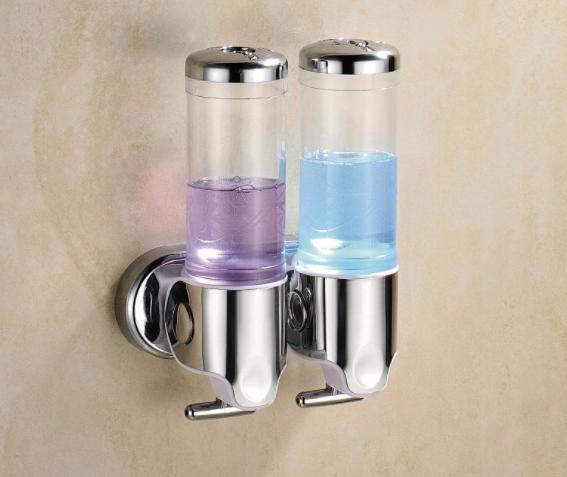2 Nástenný dvojitý dávkovač pre chrómové mydlo