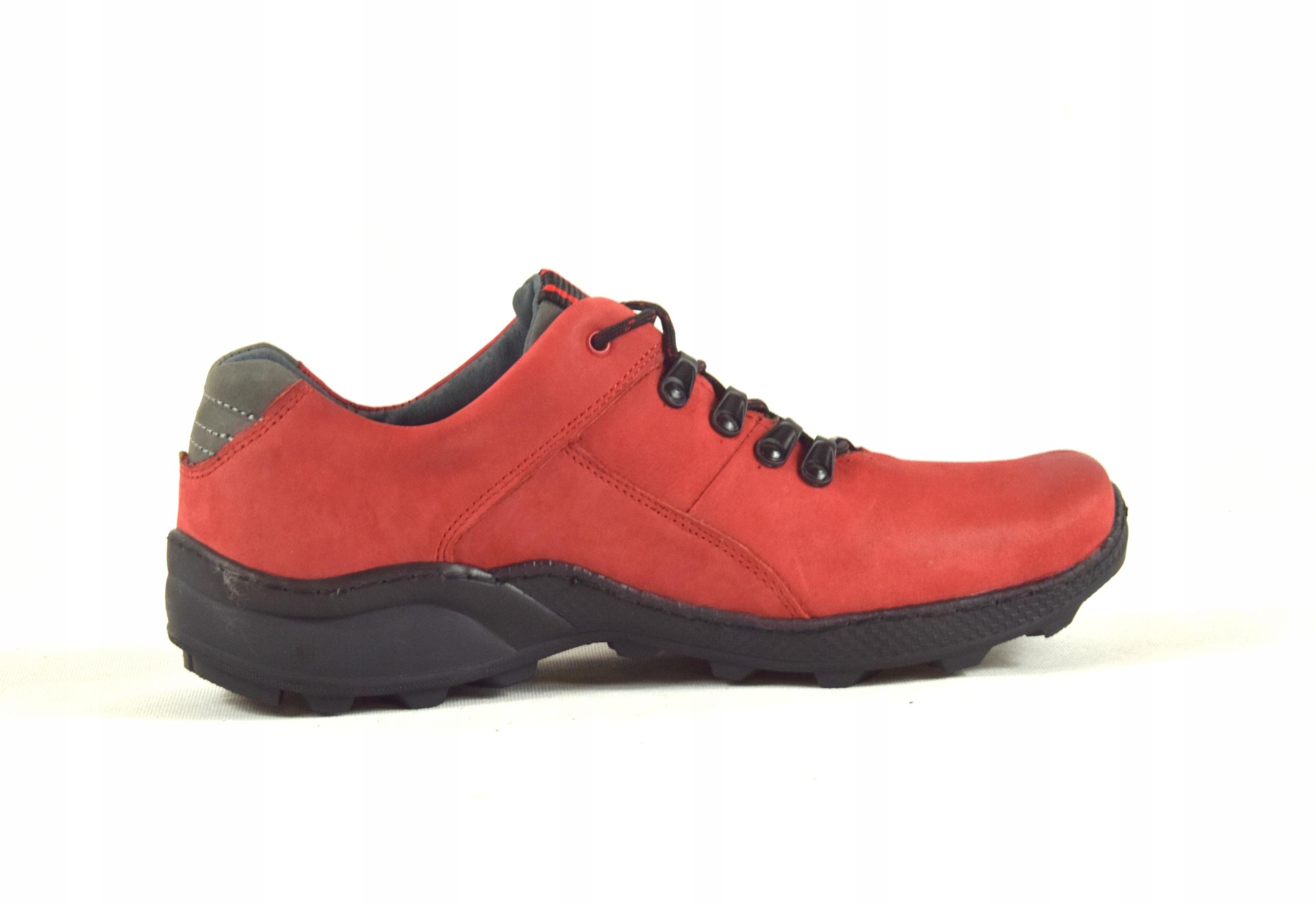 Półbuty czerwone trekkingowe męskie skórzane 296 Kolekcja 296