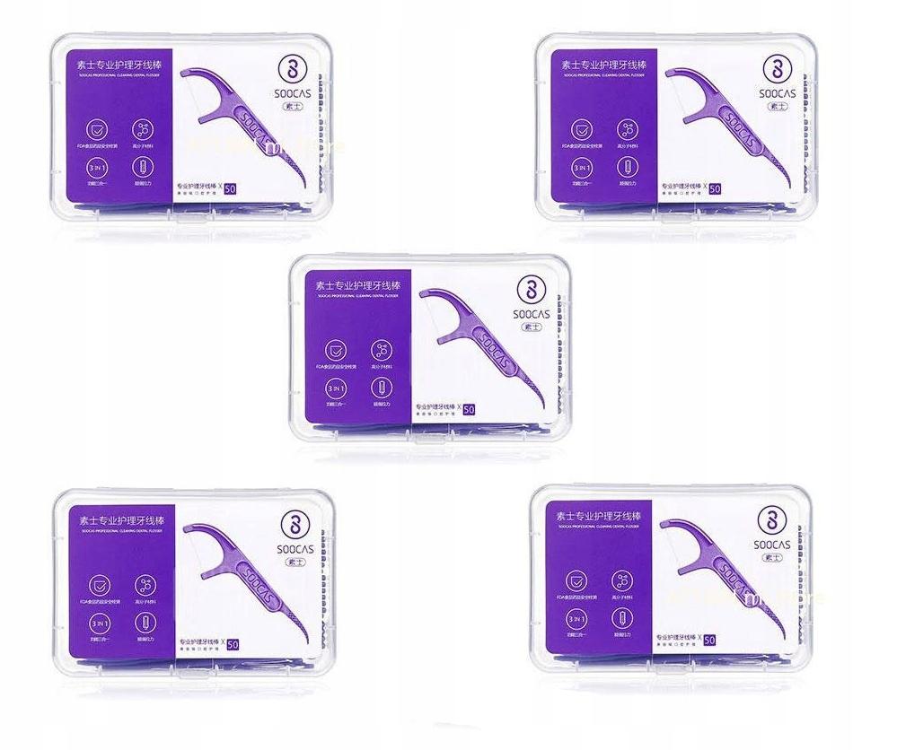 Nić dentystyczna Soocas Dental Floss 5 X 50 Szt.