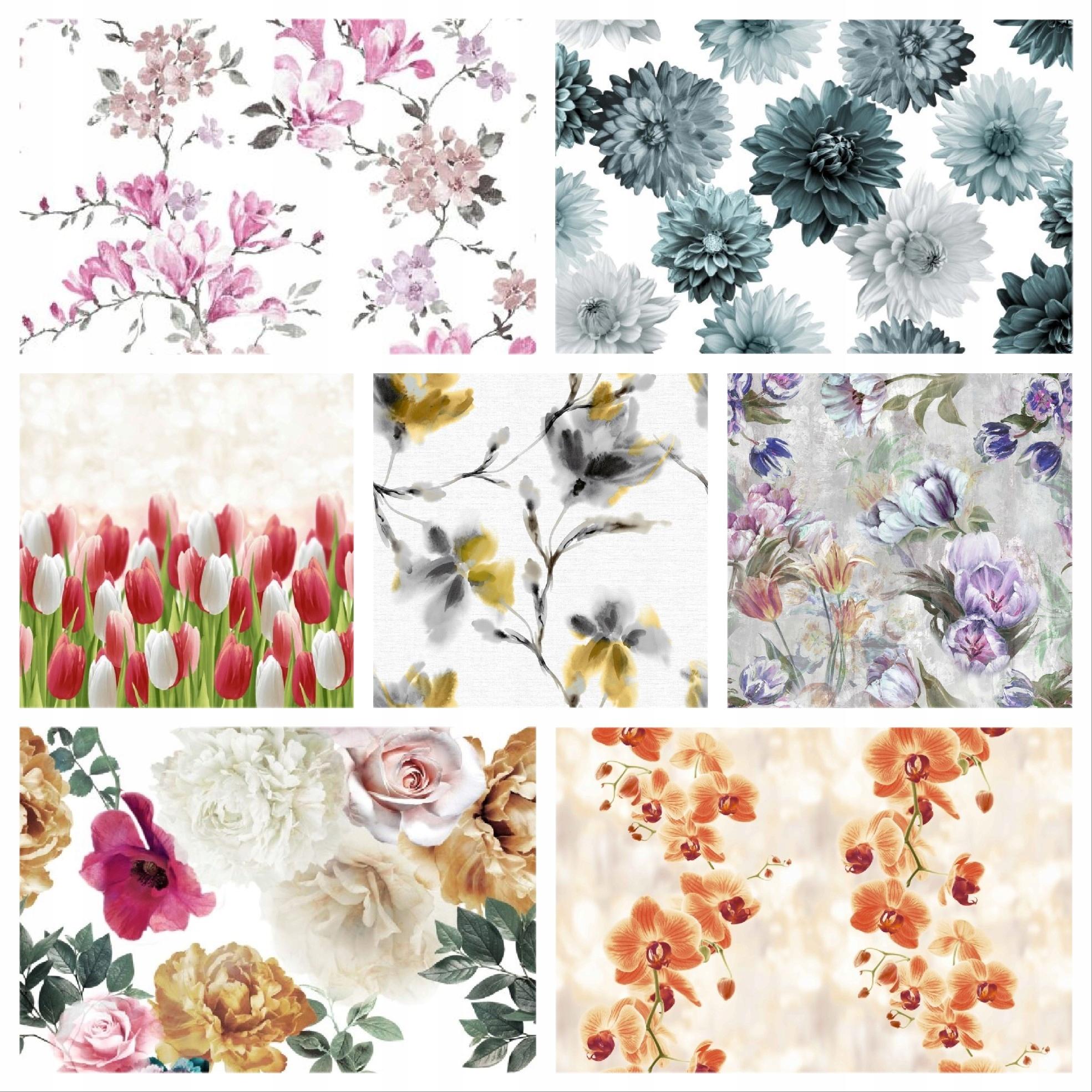 Tkanina materiał na zasłony w kwiaty z metra wybór
