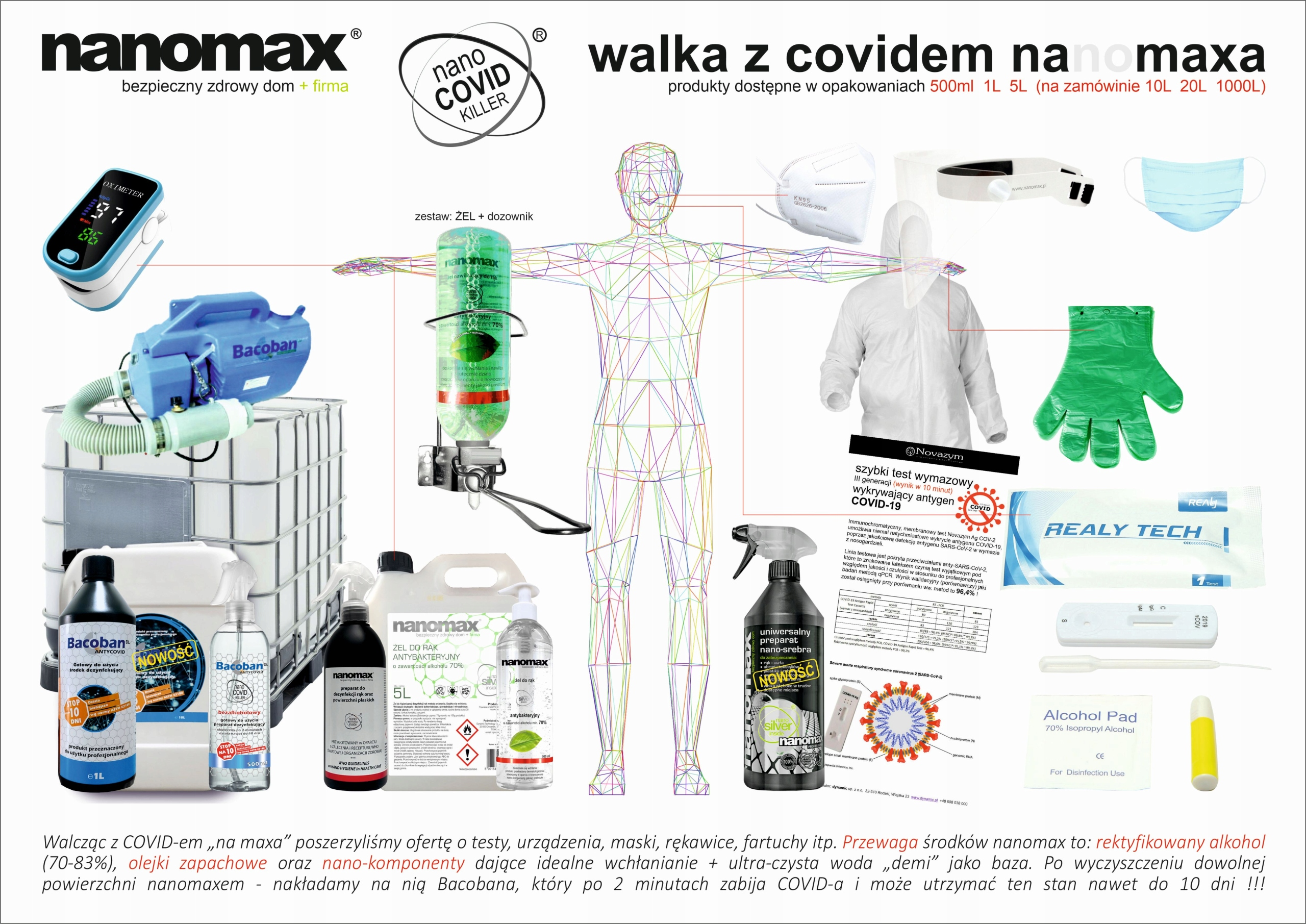 nanomax - żel antybakteryjny do rąk 70% Marka inna