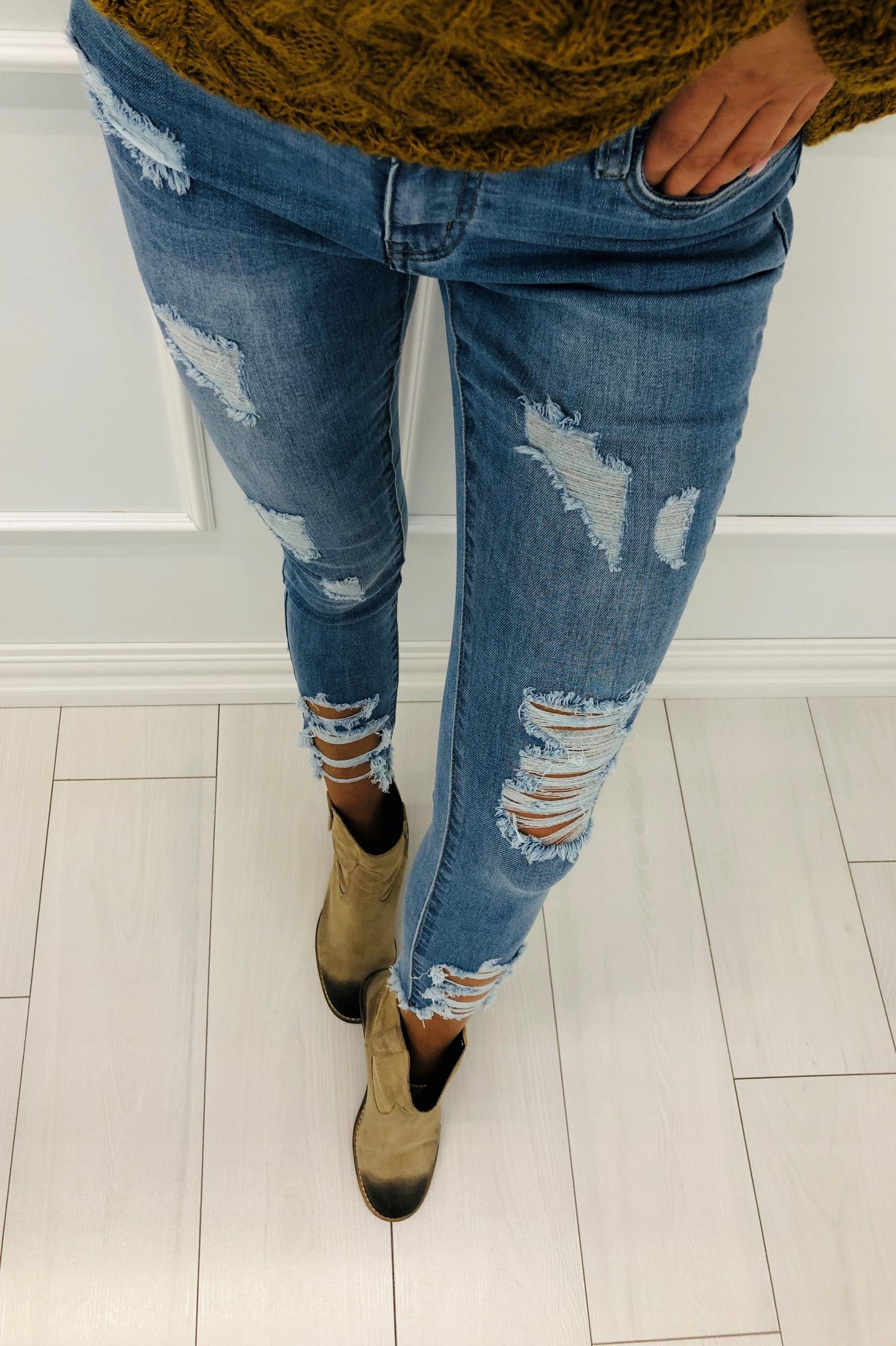 dżinsowe spodnie z przetarciami S Niebieski