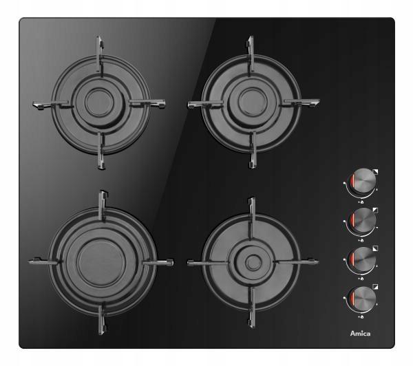 Amica PGCB6100BoB газовая плита черное стекло 4 зоны