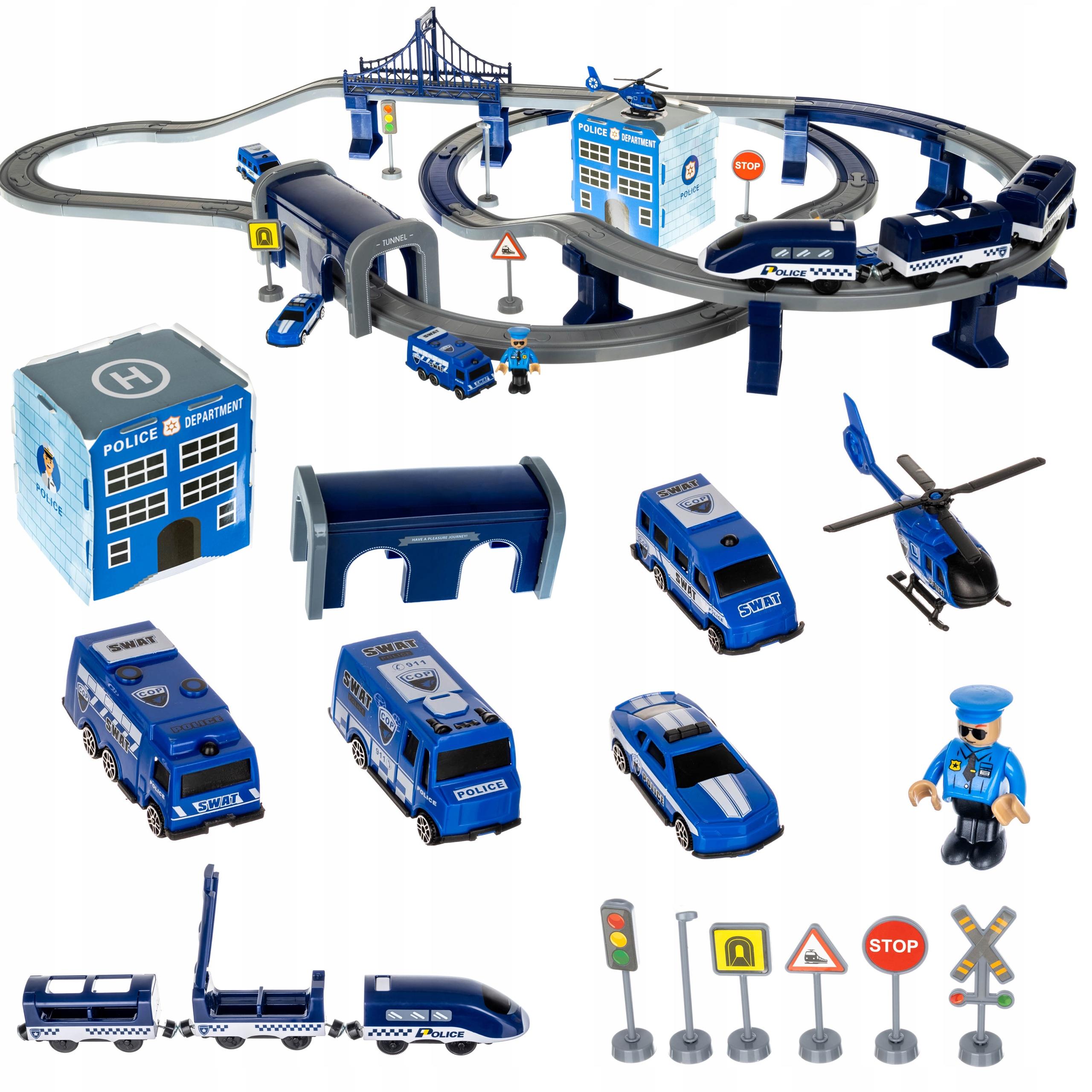 Kolejka Elektryczna Ogromny Tor Policja Helikopter