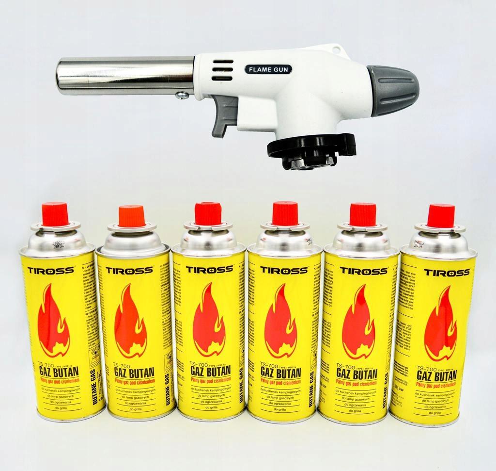 BURNER FLAME GUN газовый паяльник + 6 TIROSS газ