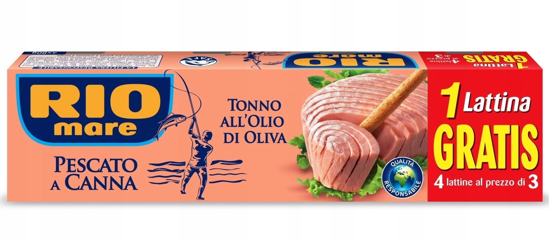 Rio Mare złowiony na wędkę tuńczyk w puszce 4x80gr