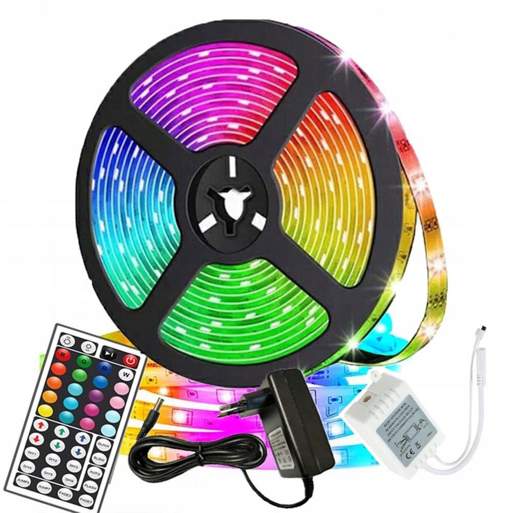Kolorowe ledy 10m LED RGB z pilotem do oświetlenia