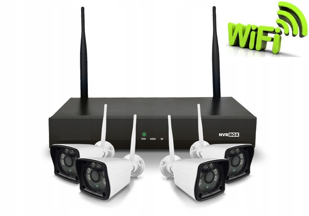 Zestaw monitoringu 4 kamery WIFI Nagrywarka p2p