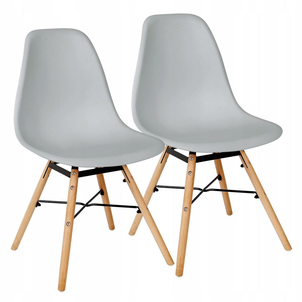 Sada 2 retro jedálenských stoličiek vo svetlo šedej farbe