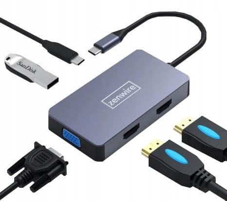 ADAPTER HUB 5W1 USB-C 2x HDMI 4K/VGA/USB 3.0/PD ZW