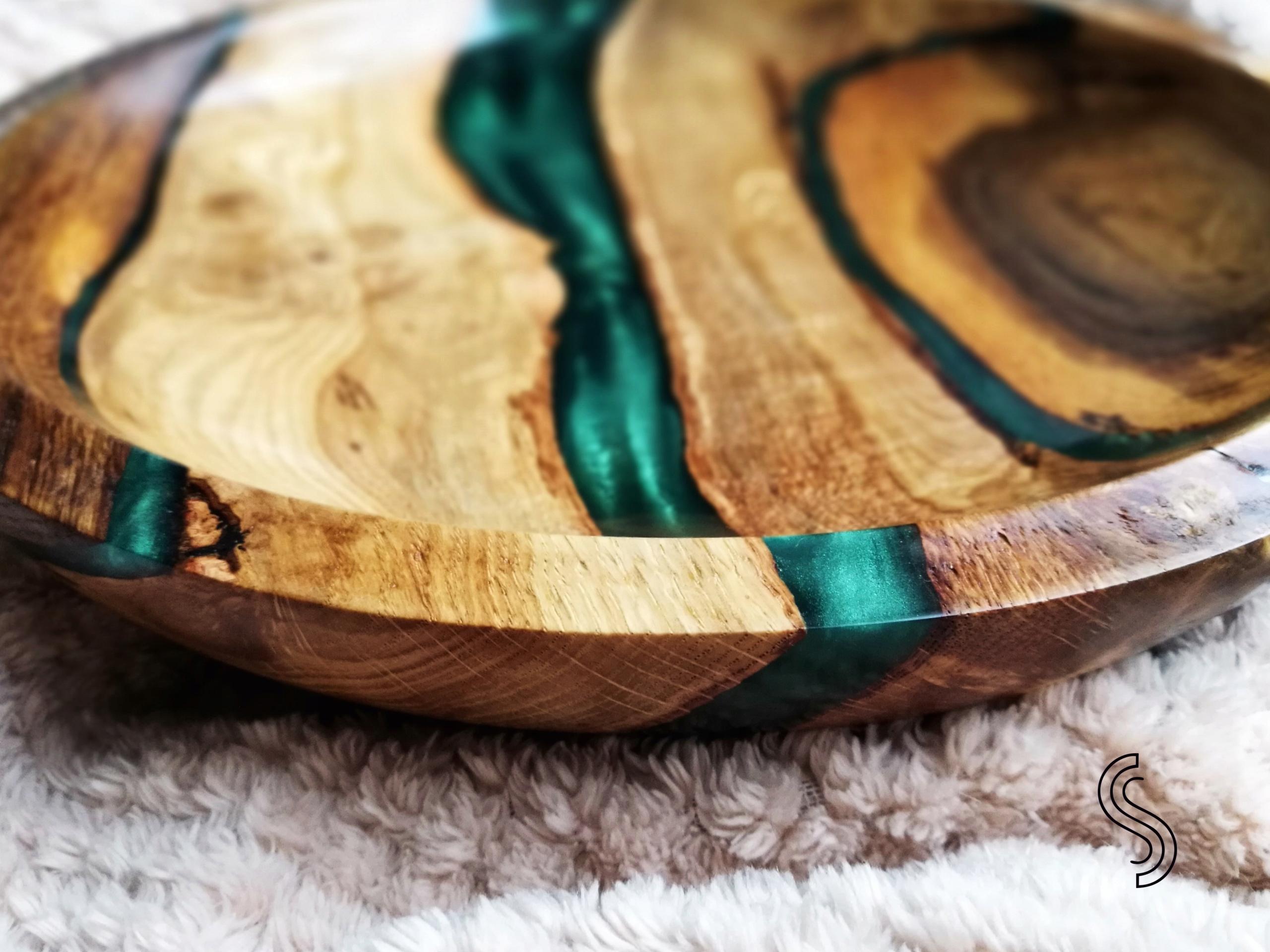 Misa drewniana dąb duża ok. 30 cm ręcznie toczona