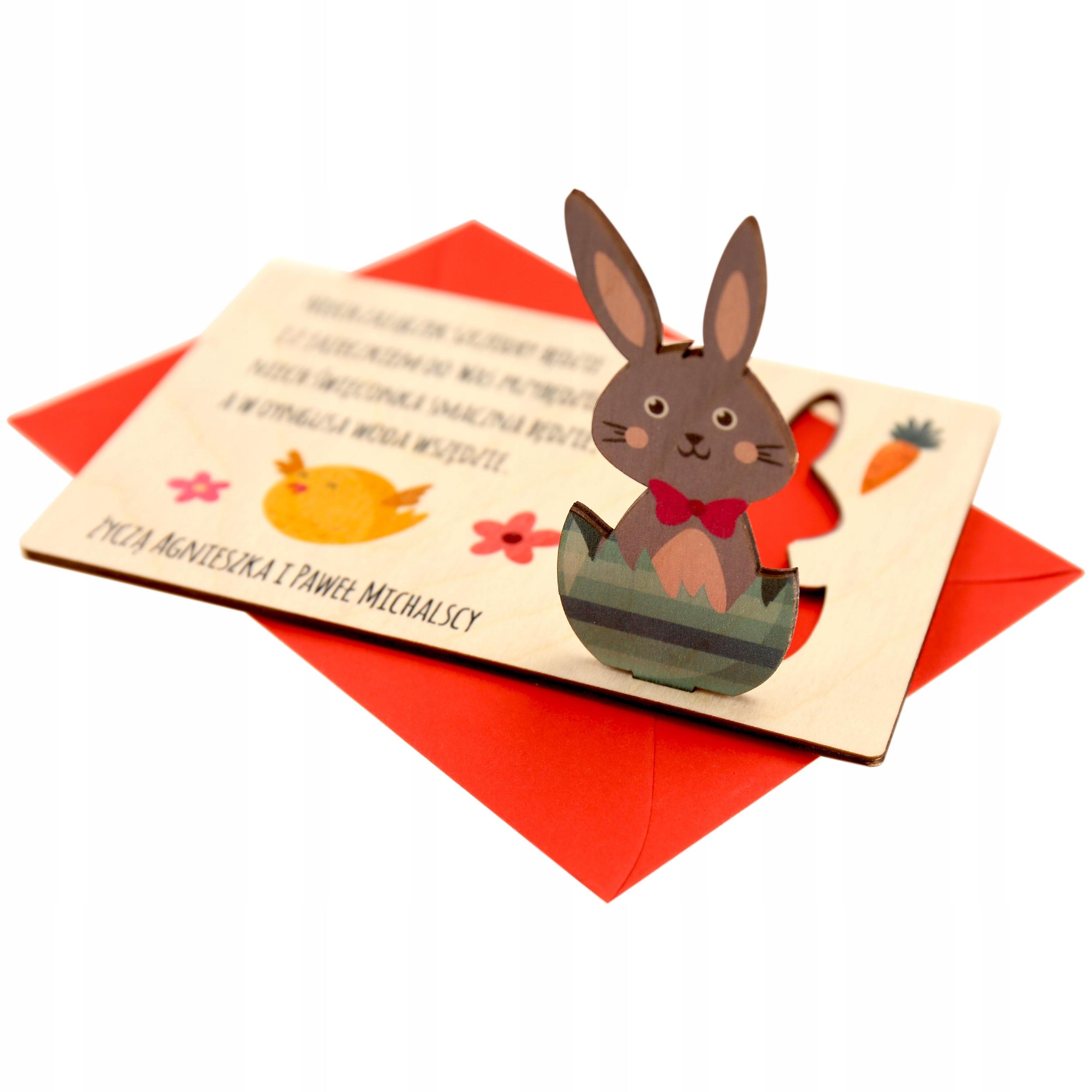 3D karta veľkonočné veľkonočné drevené zajac