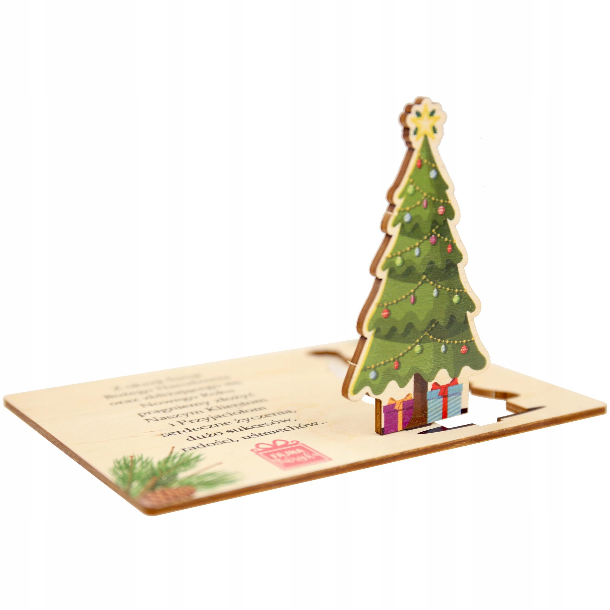 Sviatočná vizitka s logom Drevo Vianočný stromček