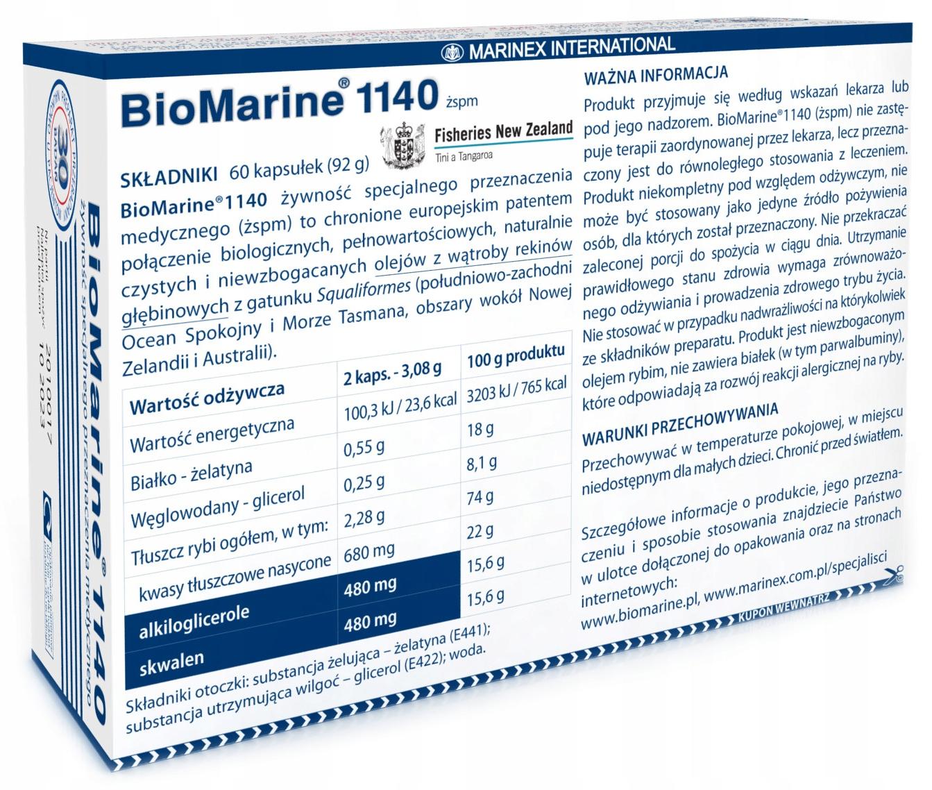BIOMARINE 1140 Tran OLEJ Z WĄTROBY REKINA OMEGA-3 Kod producenta 5903839934018