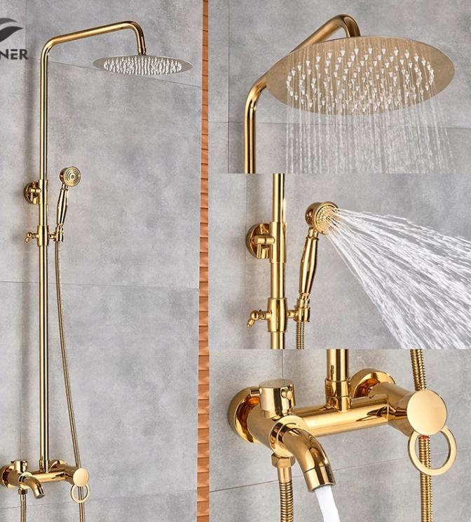 Retro zlatá sprchová batéria s dažďovou sprchou