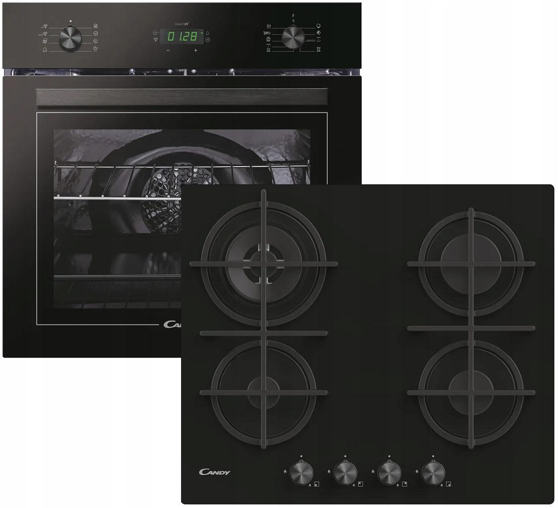 Черный встроенный комплект CANDY духовка газовая плита