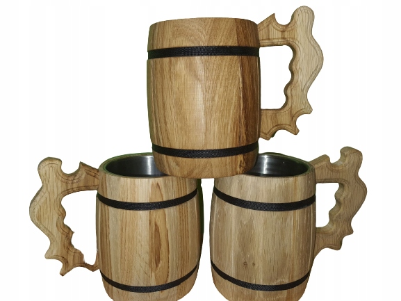 Drewniany Kufel ze wsadem metalowym. EKO
