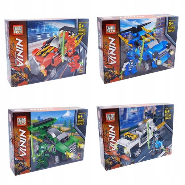Klocki Ninja zestaw 4 szt Samochody figurki 361ele