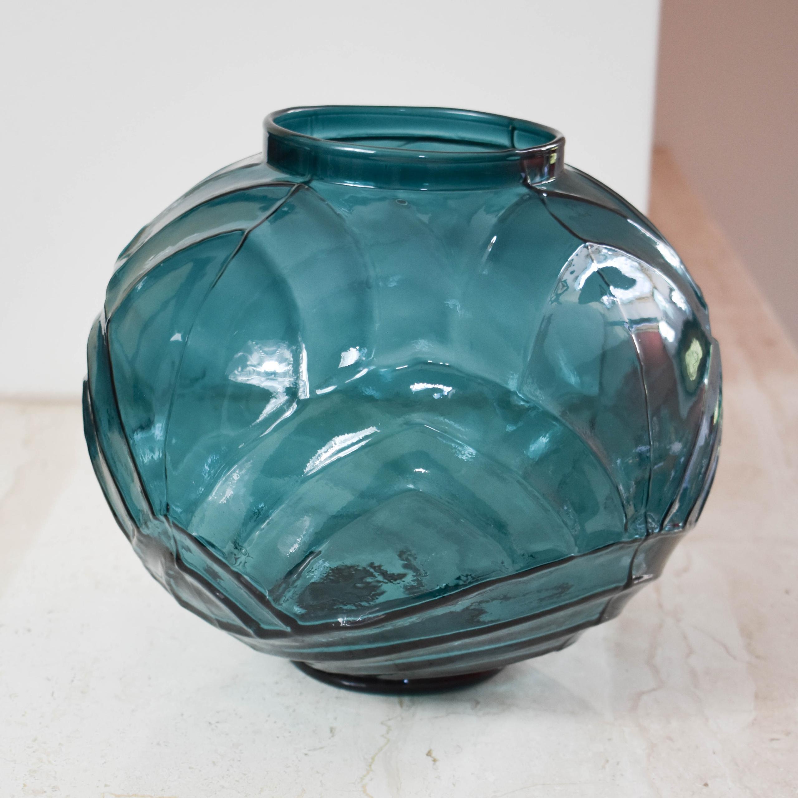 H&M HOME veľká zelená váza retro vzory