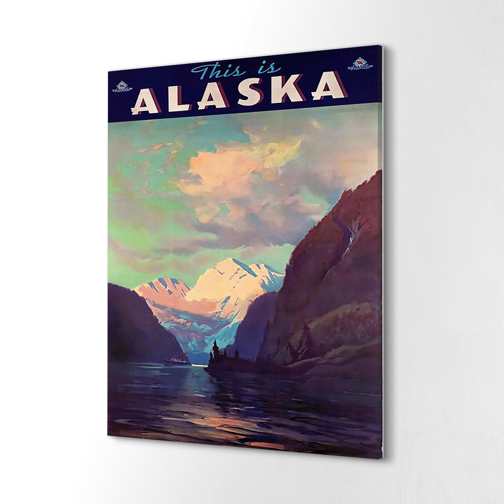 Druk na płótnie mały Alaska woda skały góry 40x60