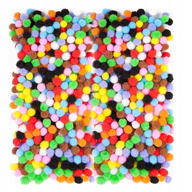 Pompony poliestrowe - kolorowe, 7 mm, 380 szt.