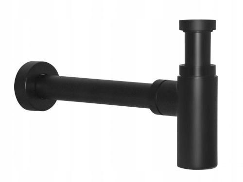 Полусифон для умывальника круглый черный solid