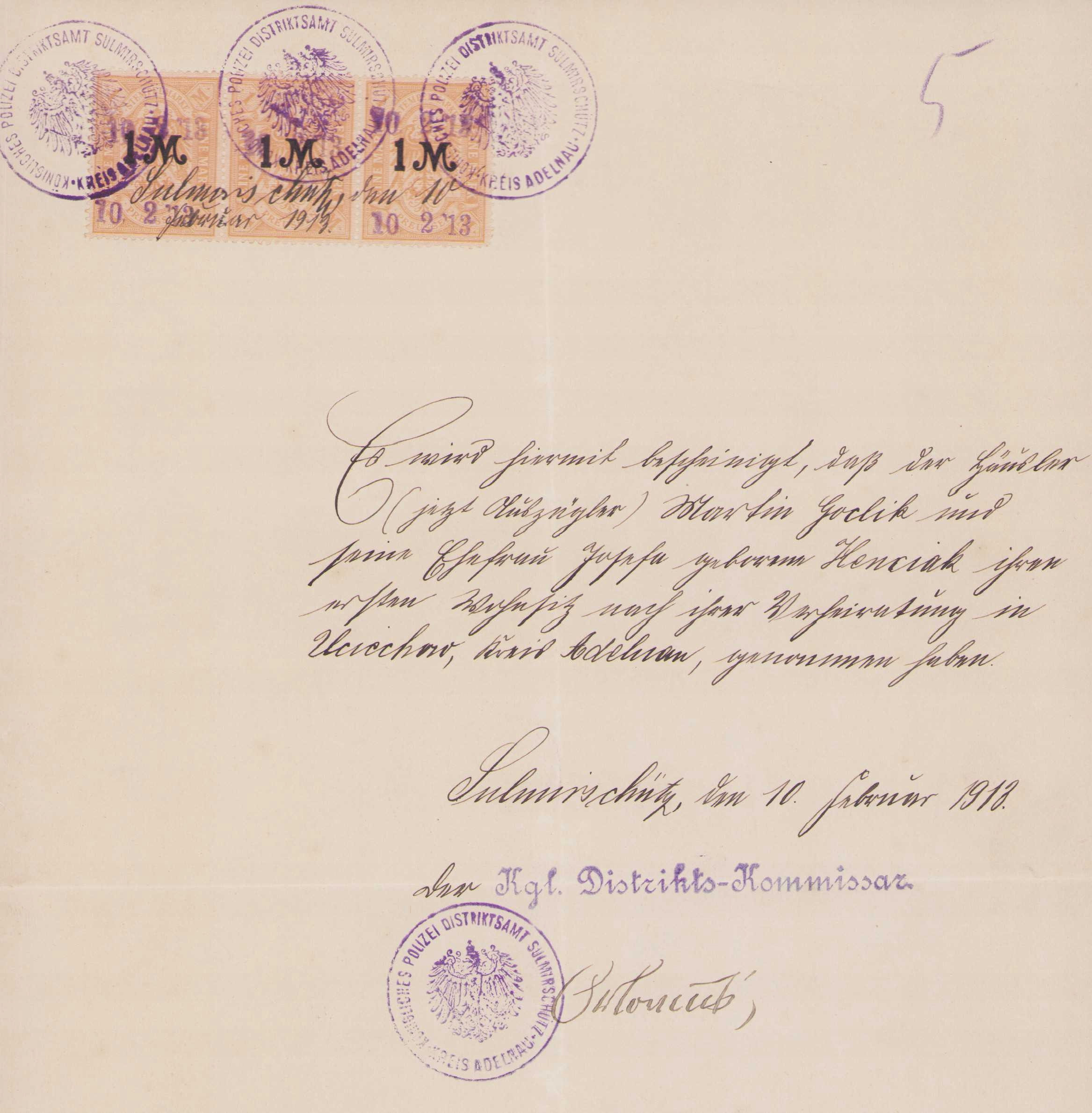 ПОЛИЦЕЙСКИЙ РАЙОН СУЛЬМИЕРЗИЦЕ 1913 - Доходы