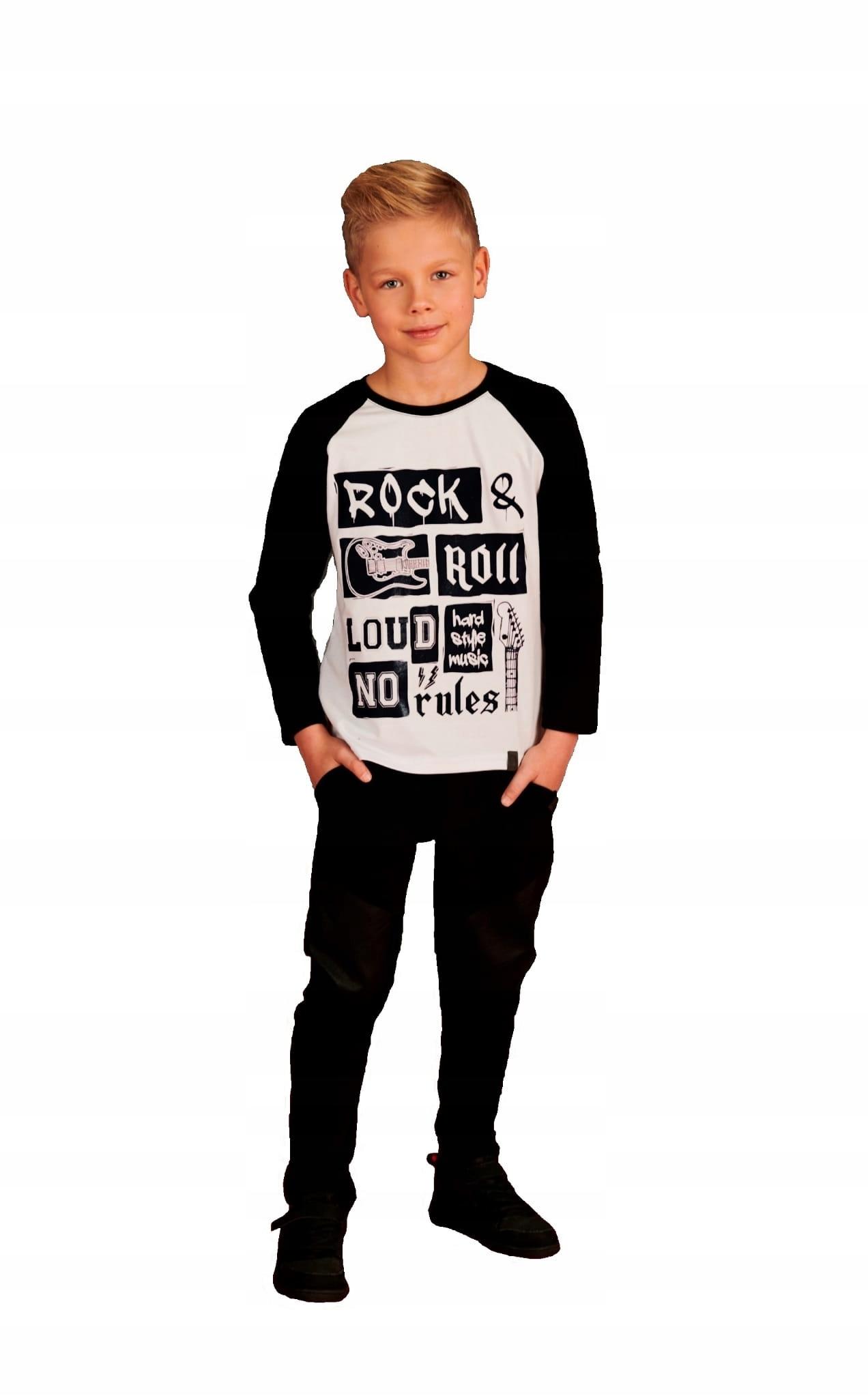 Blúzka rock biela čierna 152/158 Všetko pre deti