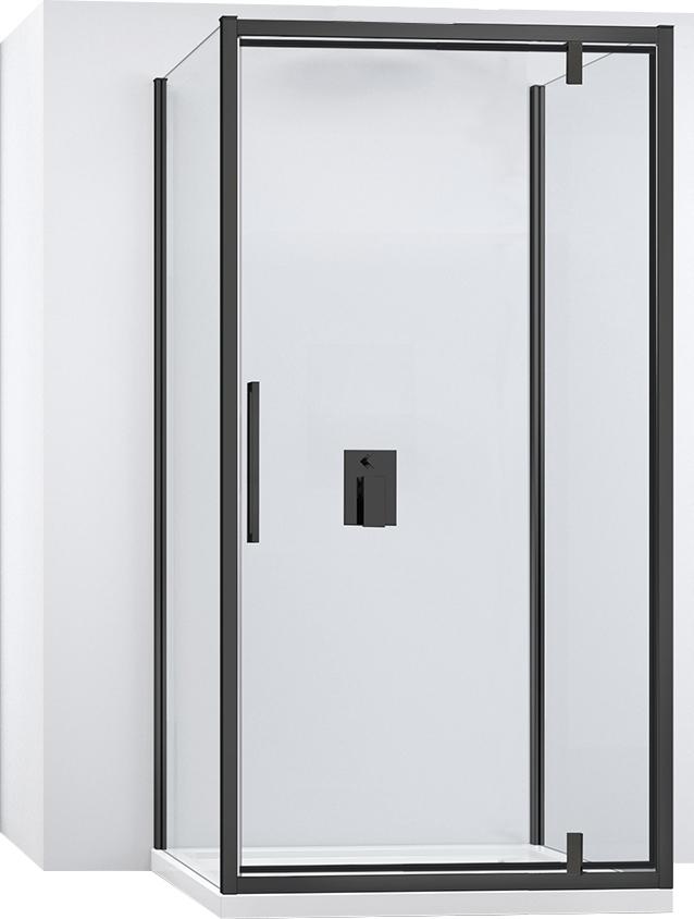 Čierna Nástenná sklopná sprchová kabína 100x140 cm Rea