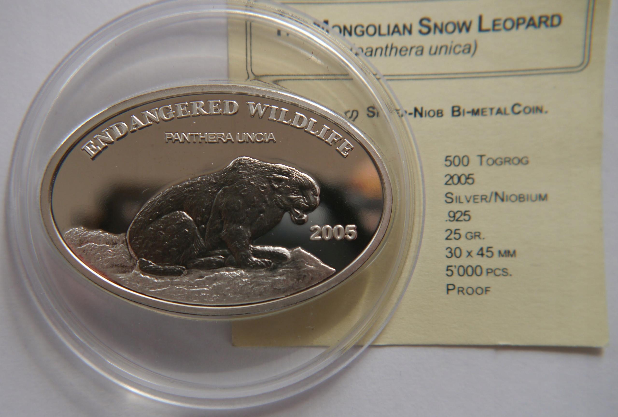 MONGOLIA 500 TOGROG 2005 PANTERA SREBRO / NIOB