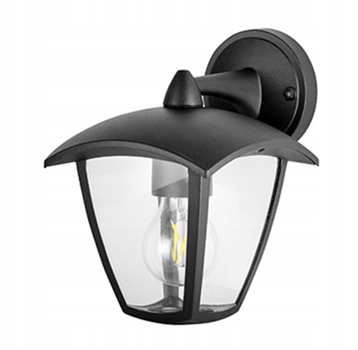 Vonkajšia záhradná nástenná lampa, spodná, ČIERNA LED