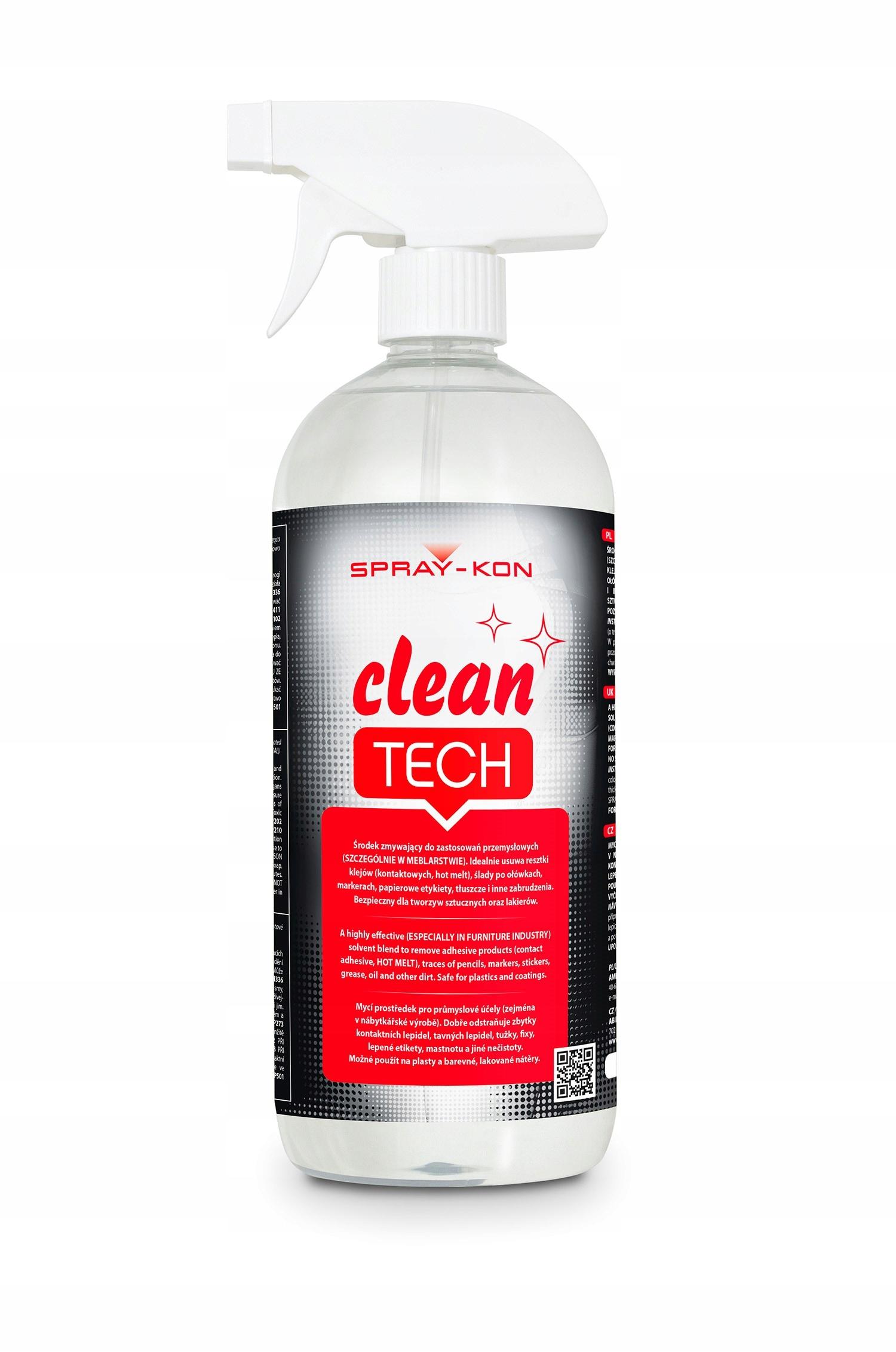 CLEAN TECH SPRAY KON обезжиривает ПВХ-АБС-СТАЛЬ.