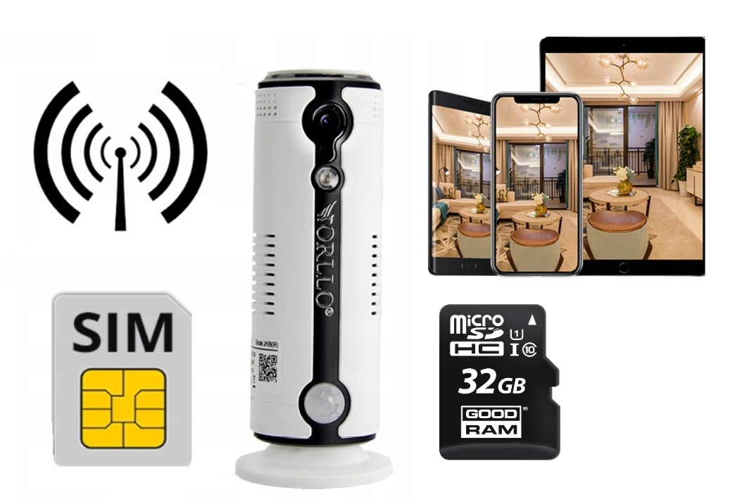 KAMERA HD GSM SIM 3G BATERIA + KARTA 32GB PODGLĄD Marka orllo
