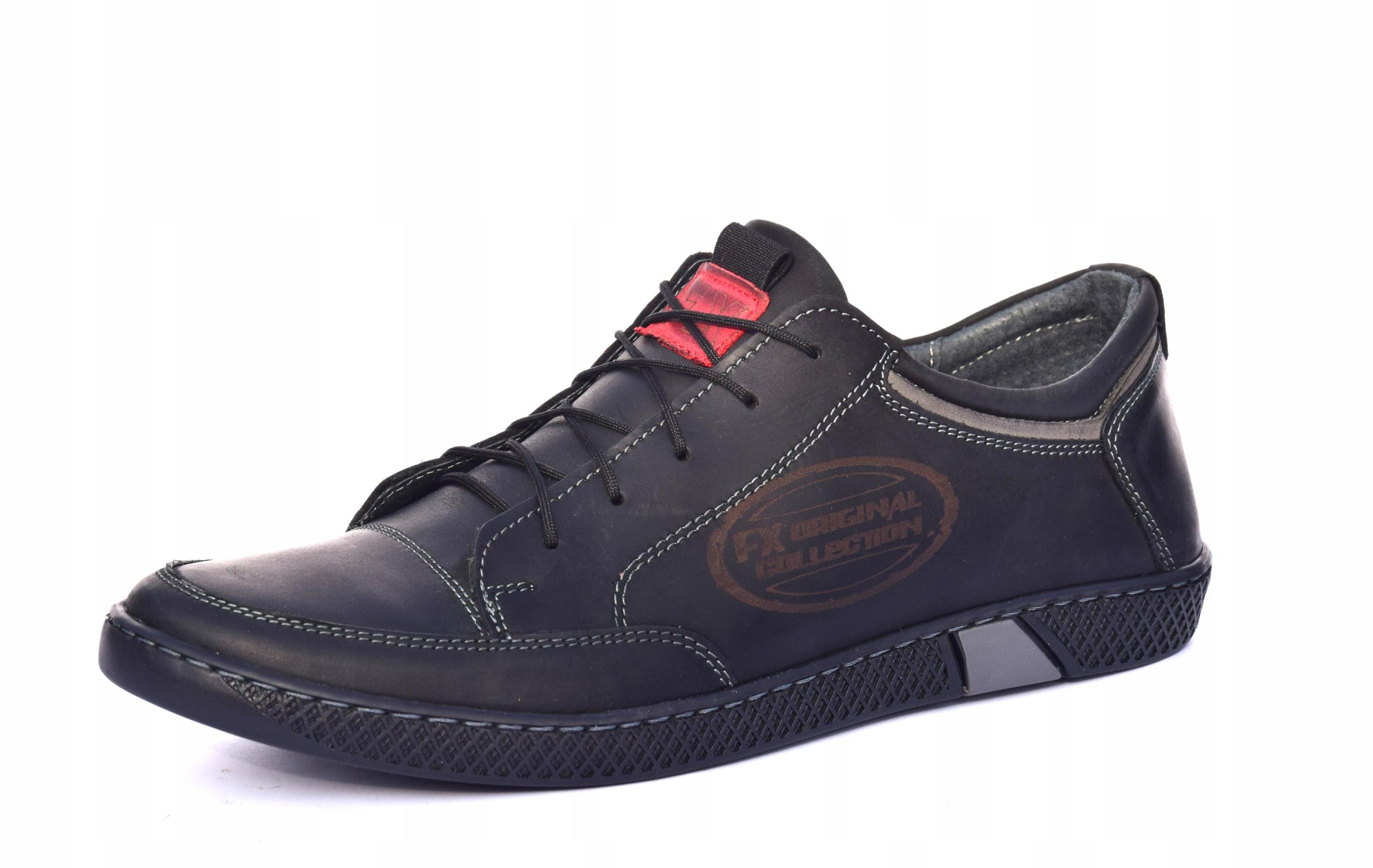 Półbuty sznurowane skórzane obuwie polskie 0447