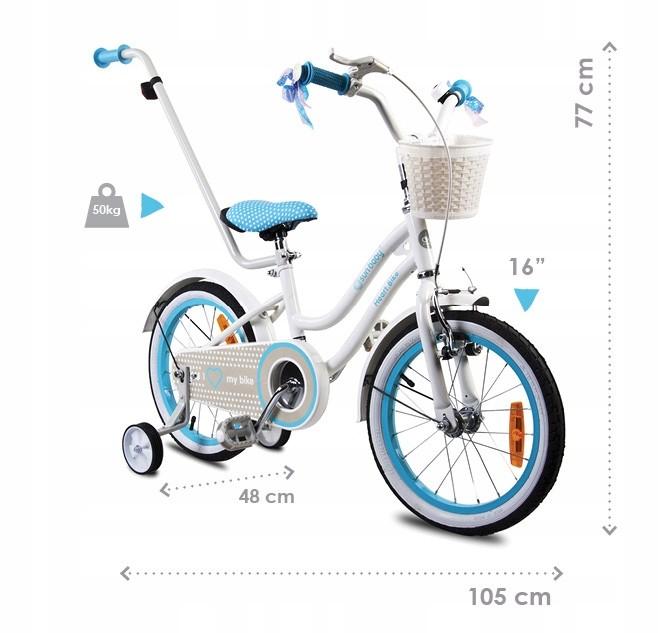"""Rowerek dla dzieci 16"""" Heart bike miętowy bmx Rozmiar koła w calach 16"""""""