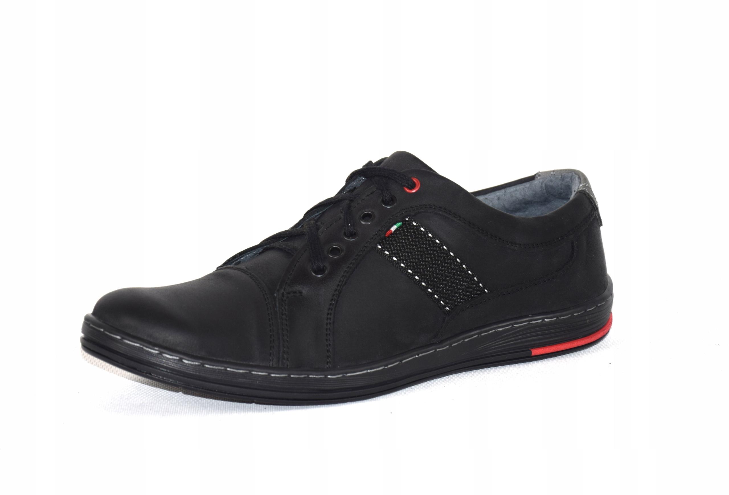 Półbuty czarne trampki skórzane buty polskie A238