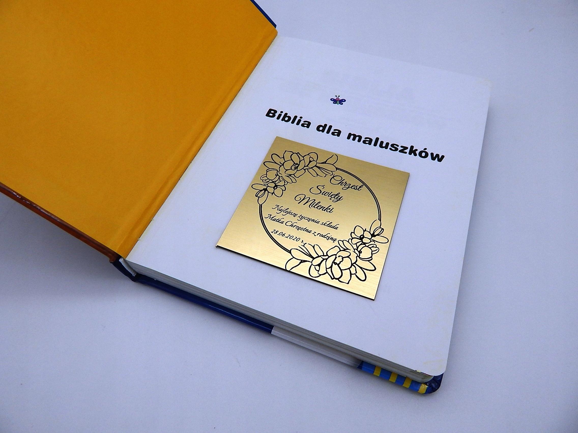 BIBLIA DLA MALUSZKÓW NA CHRZEST PREZENT + GRAWER Szerokość produktu 14.5 cm